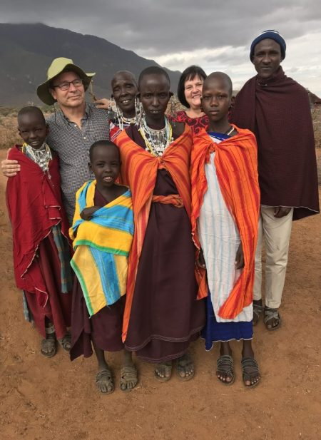 Eva and Antti with a maasai family